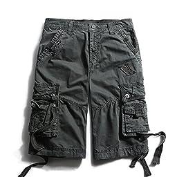 OCHENTA Men\'s Cotton Loose Fit Multi Pocket Cargo Shorts #3233 Dark grey 38