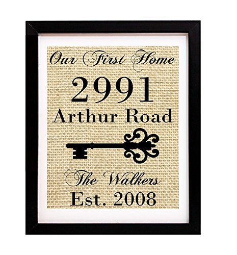 Our First Home Sign, House Address Sign, Housewarming Gifts for New Home, Custom Burlap Print with Last Name, Address and Established Year