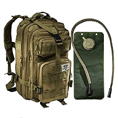 Monkey Paks Small Tactical Assault Military Backpack with 2.5 Liter Hydration Water Bladder System