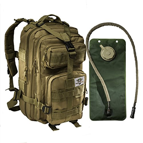 Tactical Assault Military Army Style Backpack By Monkey Paks -Hydration Water Bladder Included * Water Resistant Rucksack * MOLLE Compatatible * Great for Bug Out Bag or Daypack * Multiple Pockets