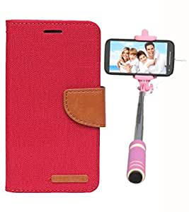 Aart Fancy Wallet Dairy Jeans Flip Case Cover for MotorolaMotorola-MotoG (Red) + Mini Fashionable Selfie Stick Compatible for all Mobiles Phones By Aart Store