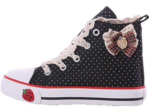 Legend E.C Girls' Lesliee High Quality Lace Skateboard Shoes High Top Canvas Bowknot Shoes Princess Shoes (9.5, Black)