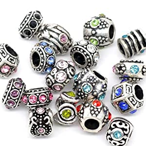 Ten (10) Pack of Assorted Silver Charms, Crystal Bead Charms, Murano Glass Beads and Spacers for European Style Bracelets. Fits Pandora, Biagi, Troll, Chamilla and Many Others
