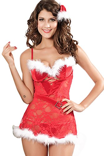 Dear-lover Women's Lingerie Red Velvet Garter Slip Lace Christmas Costume CST54