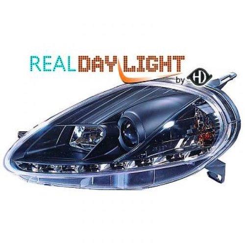 phares design, set PUNTO, 08-09 noir avec vrais feux diurnes H1+H1+moteur pour réglage électrique homologation R87