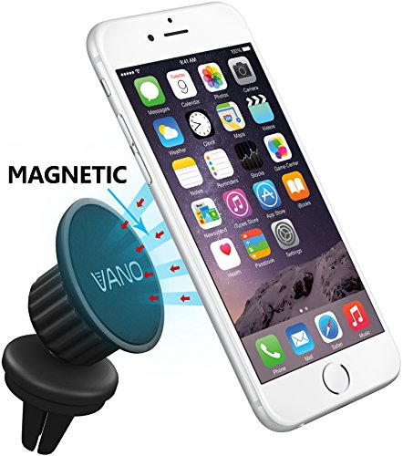 Phone Car Mount - Amazing Air Vent Magnetic Car Mount Holder, Vano® Fits Any Vent + Cell Phone - Swivel Head For Maximum Viewing Flexibility - 100% Save Magnetic Phone Mount with Powerful Grip