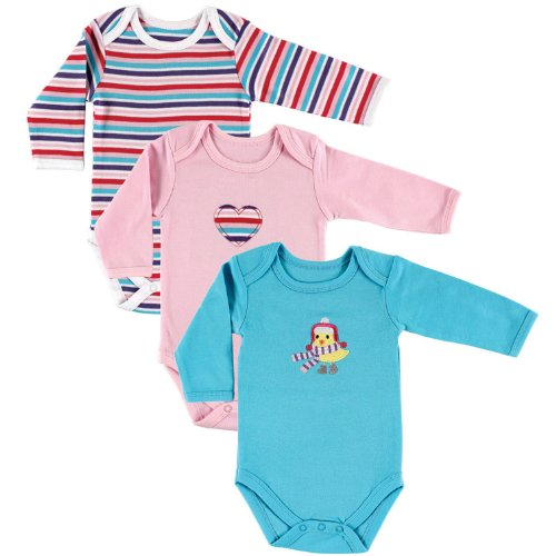 Hudson Baby Baby-Girls Long Sleeve Bodysuits, Bird, 6-9 Months (Pack of 3)