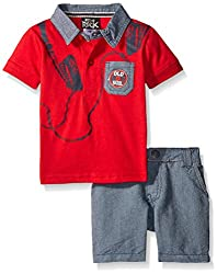 Boys Rock Baby 2 Pc Short Set Headphones, Red, 12 Months