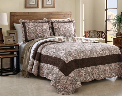 3 Pcs Quilt Bedspread Blanket Coverlet Set, Pink & Brown, Paisley Patchwork Design, Queen Size front-782216