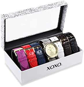 XOXO Women's XO9027 Seven Color Snake Interchangeable Strap Set Watch