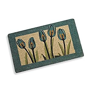 Blue spring tulips welcome door mat patio for Door mats amazon