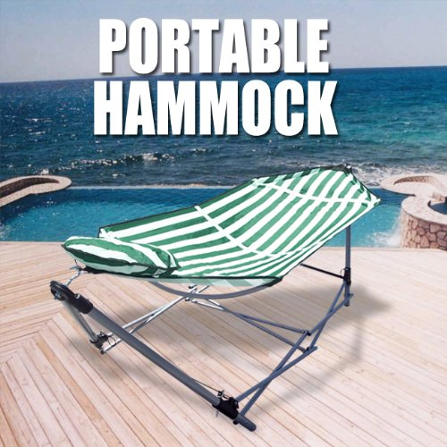 Portable Folding Hammock Carrying Bag Pillow Bed Cot Camping Stand, Green White Stripes