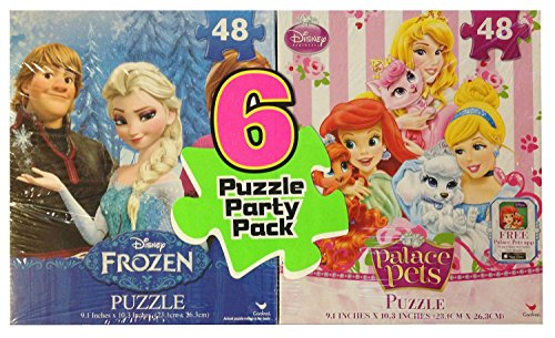 Disney Frozen, Princess, & Palace Pets Puzzles - 6 Puzzle Party Pack (48 Pieces Each)