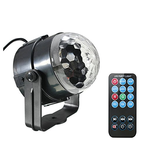 JIAFENG Mini Disco DJ Stage Lights, Sound Activated Led RGB Strobe Crystal Magic Rotating Ball Stage Lights For KTV Xmas Party Wedding Show Club Pub (With Control)