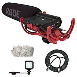 RØDE Rode Videomic Shotgun Microphone with Rycote Lyre Mount with Wind Muff Microphone Cover and Accessory Kit