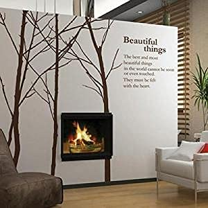 Great Value Wall Decor 4pcs Removable Tree Vinyl Wall Quotes Wallpaper Wall Stickers with Tree Pattern Large Size Coffee from Mzamzi