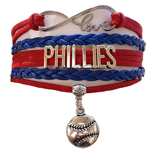 [Philadelphia Phillies MLB Red & Blue Infinity Braided Leather Bracelet with Silver Baseball Emblem Pendant Charm - Go Fightin'] (Homemade Robin Costumes For Kids)