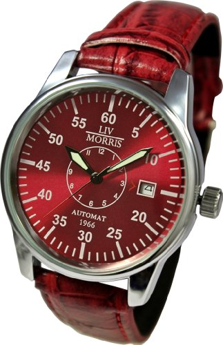 LIV MORRIS Automatik Herrenuhr 1966 Venedig, mechanische Armbanduhr, SeaGull Uhrwerk, automatischer Aufzug, Edelstahl-Glasboden, lumineszierende Zeiger, dunklelrotes Zifferblatt und Lederarmband, von LIV MORRIS
