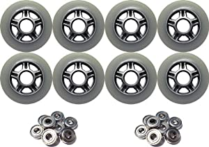 80mm 83a Outdoor Street Hockey Roller Wheels 8-Pack + Abec 9 Bearings by TGM Skateboards