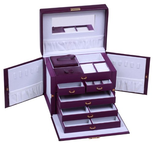 SHINING IMAGE LARGE PURPLE LEATHER JEWELRY BOX / CASE / STORAGE / ORGANIZER WITH TRAVEL CASE AND LOCK