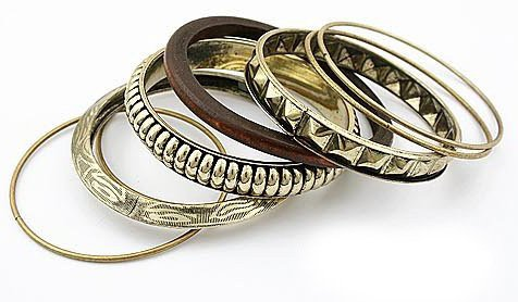 Antique Brass Tone Set of 8 pcs zinc alloy materials Bangle Bracelets Accessory