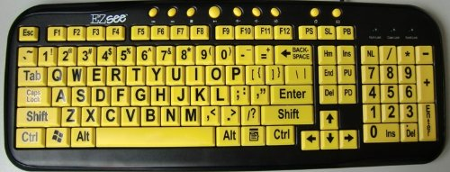 New And Improved: Ezsee By Dc Usb Wired Large Print Keyboard English Standard Qwerty - Yellow Keys With Bold Black Jumbo Oversized Letters / Characters - Visually Impaired, Low Vision, Low Light, Perfect For Seniors And People With Bad Eye Sight, Great In