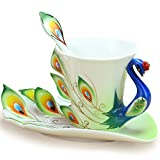 Cozyswan® Collectable Fine Arts China Porcelain Tea Cup and Saucer Coffee Cup Peacock Theme Romantic Creative Present