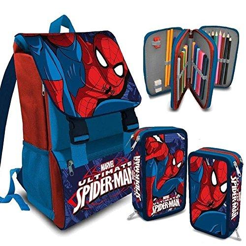 Kit Scuola School Promo Pack Zaino Estensibile + Astuccio 3 Zip MARVEL Spiderman Uomo Ragno Edizione 2016-2017
