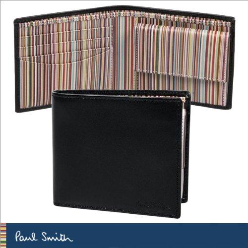 [ポールスミス]Paul Smith AJXA 1033 W567 B 二つ折り 財布 小銭入れ付き ブラック×マルチストライプ メンズ