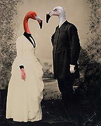 FLAMINGO Victorian LOVERS couple anthro altered art print romance love