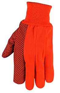 MCR Safety 8808O High Visibility PVC Dotted Canvas Standard Weight Knit Wrist Men?s Gloves with Straight Thumb, Orange, Large, 1-Pair