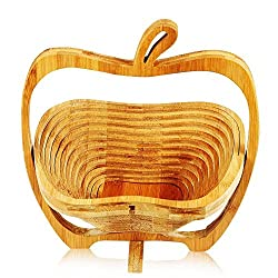 HOKIPO Apple Shaped Bamboo Folding Basket, 1 Piece