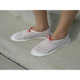 Ladies Nylon Mesh Shoe for Travel Shower Beach and Pool- LRG 8-9