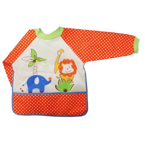 Kidiway Bib with Sleeves, Dotted Orange - 1