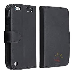 Everydaysource Compatible with Apple® iPod touch® 5th Generation Leather Wallet Case with Card Holder, Black
