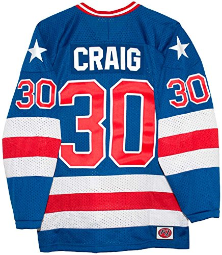 USA Miracle on Ice 1980 Jim Craig Blue Hockey Jersey (Large)