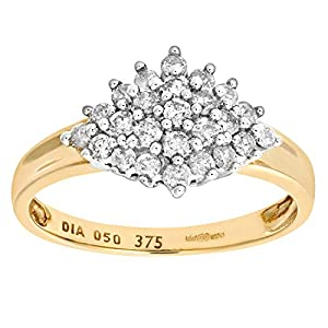 Ariel 9ct Yellow Gold Diamond Cluster Women's Ring