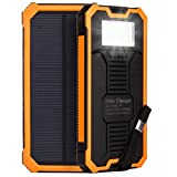 Bienna 15000mah Solar Panel Charger with 8 LED Flashlight,External Battery Pack Power Bank,Dual USB Port Portable Charger for Cell Phone,Tablet (ismart Technology,Water Resistant,Orange)