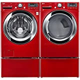 "LG PAIR SPECIAL-""WILD CHERRY RED"" Ultra Large Capacity Steam Laundry System with Matching Pedestals, and ELECTRIC Dryer(WM3370HRA_DLEX3370R_WDP4R X 2)"