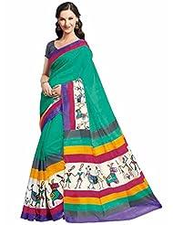 Vipul Mysore Silk Green Warli Print Saree