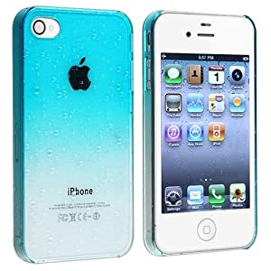 Eforcity Snap-on Case Compatible With Apple® Iphone® 4 / 4s  Clear Sky Blue Waterdrop Ultra Thin