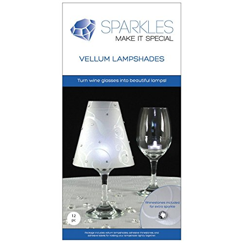 Sparkles Make It Special 12 Wine Glass Lamp Shades with Rhinestones Wedding Party Table Centerpiece Decoration