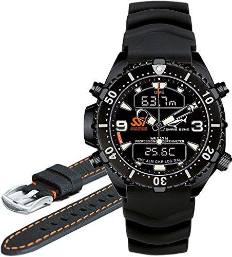 Chris Benz Depthmeter Digital CB-D-ALLBLACK-SSI Mens Chronograph Diving Computer
