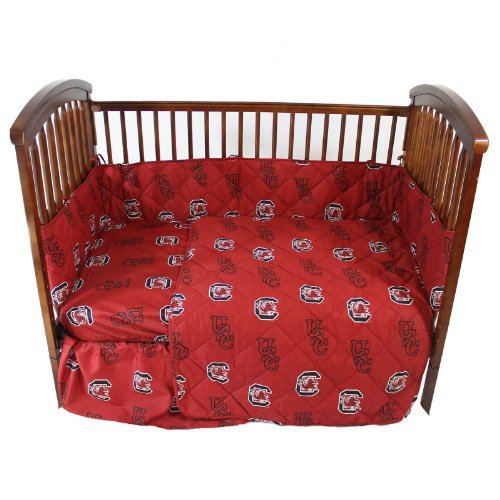 """South Carolina Gamecocks 5 Piece Crib Set And Set Of Two (2) Matching Window Valance/Drape Sets (Drape Length 84"""") - Entire Set Includes: (1) Reversible Comforter, (1) Bed Skirt , (2) Fitted Sheets, (1) Bumper Pad And (2) Matching Window Valance/Drape Set front-949322"""