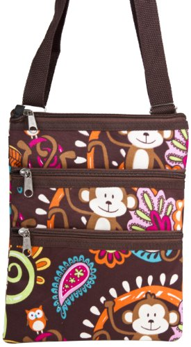 Brown Monkey Print Small Hipster Cross Body Shoulder Bag Purse Handbag