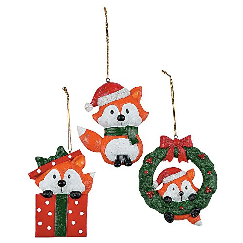 Christmas Fox Ornaments 1 Dozen