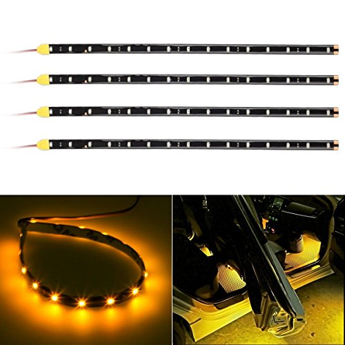 Partsam 4x 15SMD String Flexible Strip Light 30CM Amber For Car Motorcycles (2014 Lancer Se Parts compare prices)