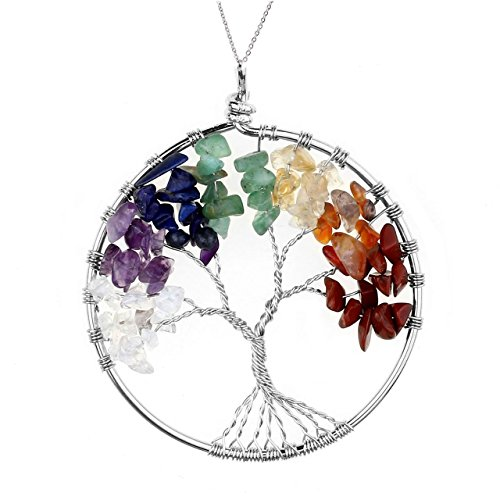 JOVIVI Crystal Quartz Tree of Life Pendant for Necklace DIY - 7 Chakras Gemstone Charms