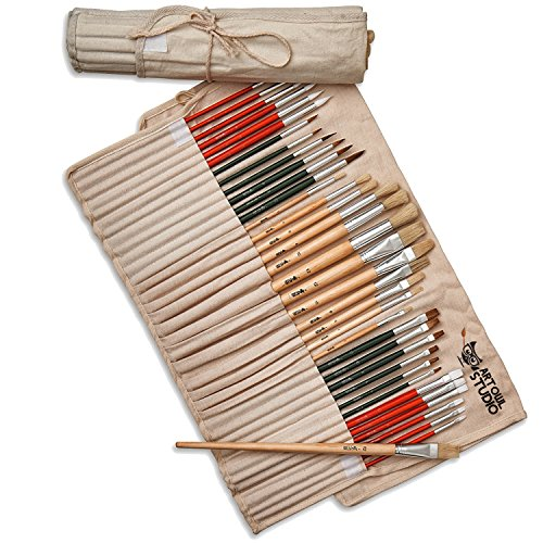 Art Owl Studio 36 Paint Brush Set - Natural & Synthetic Art Brushes for Acrylic Painting, Oil & Watercolor (Art Brush Storage compare prices)