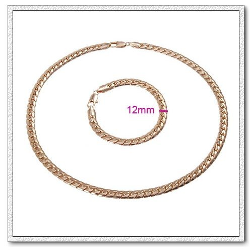 18k Gold Plated Men`s Jewellery Set Chain Necklace & Bracelet for Men S226M